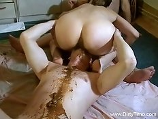 Whore is pissing on his face