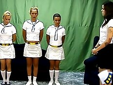 Three scat lesbians in white uniforms
