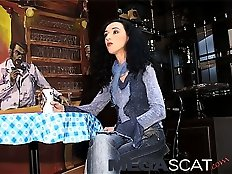 Enema and scat play with a lady in jeans